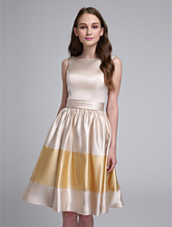 A-Line Bateau Neck Knee Length Stretch Satin Bridesmaid Dress with Sash / Ribbon by LAN TING BRIDE®