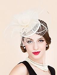 fascinadores de red de plumas de lino sombreros tocados estilo femenino clásico