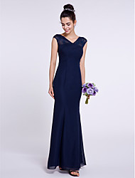 cheap -Mermaid / Trumpet V Neck Ankle Length Chiffon Bridesmaid Dress with Criss Cross by LAN TING BRIDE®