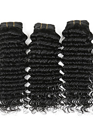 "4 Pcs/Lot 100g/Piece 8""-26"" Indian Curly Remy Hair Weave Natural Black Deep Wave Cheap Human Hair Extensions"