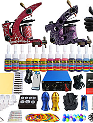 Solong Pro Tattoo Complete Tattoo Kit 2 Pro Machine s 14 Inks Power Supply Needle Grips