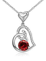 cheap -HKTC Lovely Gift Ruby Jewelry 18k White Gold Plated Red Crystal Simulated Diamond Heart to Heart Pendant Necklace