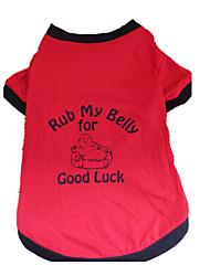 baratos -Cachorro Camiseta Roupas para Cães Carta e Número Preto/Vermelho Algodão Ocasiões Especiais Para animais de estimação