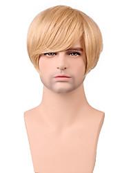 parrucca breve rettilineo sintetica bionda capelli degli uomini