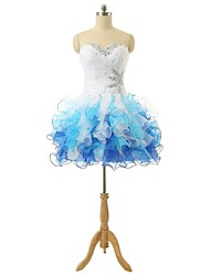 cheap -Ball Gown Sweetheart Short / Mini Organza Cocktail Party Dress with Beading Criss Cross Sequins Bandage by A-Fu