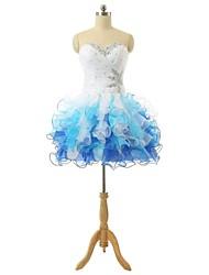 De Baile Decote Princesa Curto / Mini Organza Coquetel Vestido com Miçangas Cruzado Lantejoulas Faixa de A-Fu