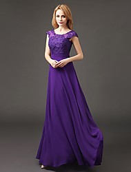 cheap -A-Line Scoop Neck Floor Length Chiffon Bridesmaid Dress with Appliques by LAN TING BRIDE®