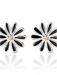 cheap -2016 Korean Women 925 Silver Sterling Silver Jewelry Acrylic Daisy Earrings Stud Earrings 1Pair