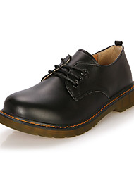 cheap -Women's Oxfords Winter Comfort Leather Casual Flat Heel Lace-up Black / Brown / Red / White