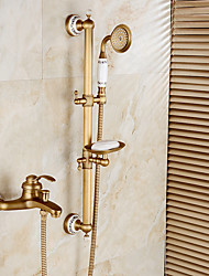 cheap -Art Deco/Retro Centerset Rain Shower Handshower Included Pullout Spray Ceramic Valve Single Handle Two Holes Antique Bronze , Shower