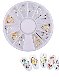 Fashion Women New Gold Metal Nail Art Decoration Wheel Flowers Love Shape Charm Nail Jewelry Accessories