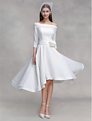 cheap -A-Line Off-the-shoulder Asymmetrical Chiffon Satin Wedding Dress with Button Flower by LAN TING BRIDE®