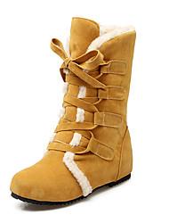 お買い得  -女性用 靴 レザーレット 秋 / 冬 スノーブーツ / ファッションブーツ ブーツ ウエッジヒール 15.24-20.32 cm / ブーティー/アンクルブーツ 編み上げ ブラック / ベージュ / イエロー