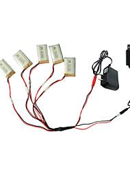 preiswerte -5pcs 3.7V 650mAh Batterie mit 1 bis 5 USB-Ladekabel Adapterteile für Syma x5C x5 x5sc rc quadcopter