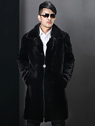 cheap -Men's Solid Casual / Plus Sizes Trench coat,Faux Fur Long Sleeve-Black