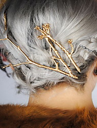 Set of 2 Gold Leaf Branch Shape Hair Clip Barrette Pins for Lady Casul Hair Jewelry