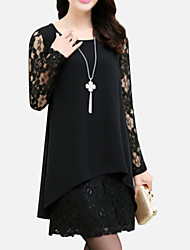 cheap -Women's Daily Plus Size Casual Loose Lace Dress,Solid Round Neck Mini Long Sleeves Polyester Spring Summer Fall Mid Rise Inelastic Medium
