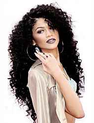 cheap -hot top quality lace front wigs 150 density natural black color kinky curly heat resistant synthetic hair wigs