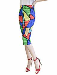 Women's Print Blue Skirts,Plus Size Midi