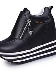 preiswerte -Damen Schuhe PU Herbst High Heels Walking Keilabsatz Reißverschluss für Normal Weiß Schwarz Rot