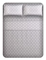 "Sheet Set,4-Piece Microfiber Grey bottom wishful flower with 12"" Pocket Depth"