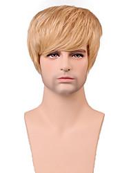 parrucca senza cappuccio degli uomini short naturale capelli lisci bello