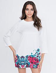 Dame Vintage I-byen-tøj Plusstørrelser Skift Kjole Blomstret,Rund hals Knælang 3/4 ærmelængde Flerfarvet Bomuld Andet Forår Efterår