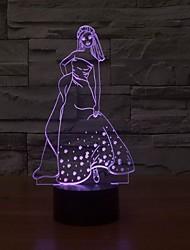 Недорогие -ночь свет 3D-эффект красивый элегантный светодиодные настольные лампы девушка с изменением цвета свет ночи