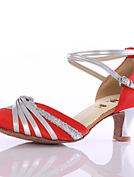 cheap -Women's Latin Modern Leatherette Satin Heel Indoor Bowknot Customized Heel Black Red Pink Customizable