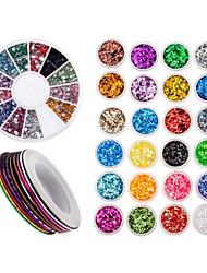 baratos -acessórios arte do prego decorações com 24 paillettes coloridas, 30 rolos striping linhas tiras e roda com strass