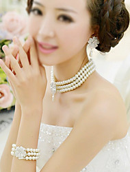 cheap -Women's Imitation Pearl Jewelry Set Earrings / Necklace / Bracelets & Bangles - Party / Fashion / Imitation Pearl Beige Bridal Jewelry