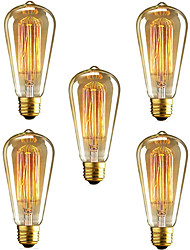 cheap -5pcs 40 W E26 / E27 ST64 Warm White 2300 k Retro / Dimmable / Decorative Incandescent Vintage Edison Light Bulb 220-240 V