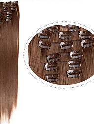 cheap -synthetic hair extentions 22 100g 7pcs set synthetic straight hair 6 light brown clip in hair extentions