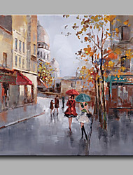 cheap -Oil Paintings Modern Landscape Rainy Street Canvas Material With Wooden Stretcher Ready To Hang