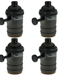 preiswerte -Youoklight 4pcs e27 Lampenfassung Vintage Edison Pendelleuchte mit Knopf - schwarz-roségold