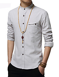 Men's Fashion Stand Collar Pocket Casual Slim Fit Long-Sleeve Shirt,Cotton/Solid/Business