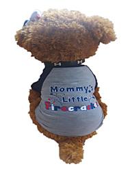 baratos -Cachorro Camiseta Roupas para Cães Carta e Número Estrelas Cinza Escuro Algodão Ocasiões Especiais Para animais de estimação