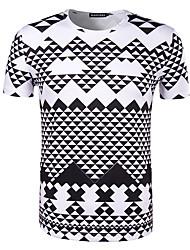 Hombre Simple Noche Casual/Diario Vacaciones Camiseta,Escote Redondo Estampado Manga Corta Algodón Negro