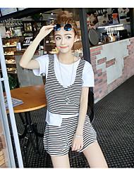 abordables -Mujer Blusa Conjunto - Un Color A Rayas