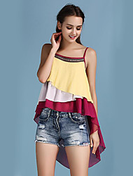 Women's Casual/Daily Street chic Summer Tank Top,Embroidered Strap Sleeveless Yellow Polyester Medium