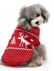Cat Dog Sweater Dog Clothes Keep Warm Christmas Reindeer Red Blue Costume For Pets