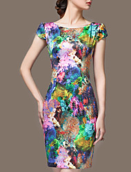 cheap -Women's Plus Size Going out Sophisticated Slim Sheath Dress - Floral