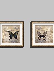 Floreale/Botanical / Animali Tele con cornice / Set con cornice Wall Art,PVC Oro Passepartout incluso con cornice Wall Art