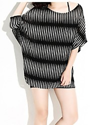 cheap -Women's Plus Size Street chic Long Pullover - Striped, Cut Out