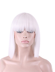 cheap -Synthetic Wig Straight / Yaki Bob Haircut / With Bangs Synthetic Hair White Wig Women's Medium Length Capless