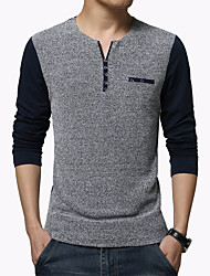 cheap -Men's Fashion Patchwork Round Collar Buttons Slim Fit Long-Sleeve T-Shirt, Cotton/Plus Size/Casual