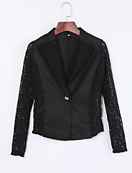 cheap -Women's Lace Sexy Fall Blazer,Solid Notch Lapel Long Sleeve White/Black Cotton/Polyester/Nylon Thin