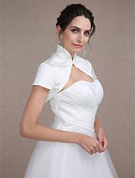 baratos -Manga Curta Cetim Casamento Festa Wraps casamento Boleros