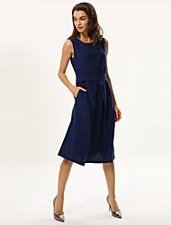 Mulheres Evasê Vestido,Casual Sólido Decote Redondo Médio Sem Manga Azul / Roxo Poliéster Primavera / Verão / Outono