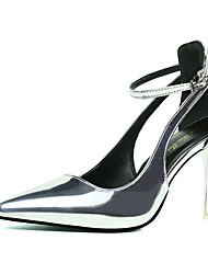 Damen High Heels PU Sommer Schnalle Stöckelabsatz Weiß Schwarz Silber Grau Rot 7,5 - 9,5 cm